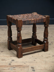 Mouseman Oak & Leather Stool