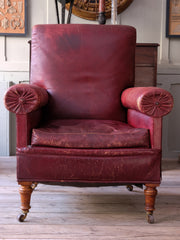 A 19th Century Moroccan Leather Armchair & Ottoman