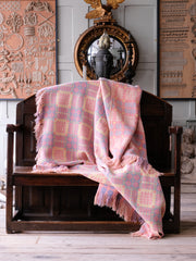 Blue & Pink Welsh Tapestry Blanket