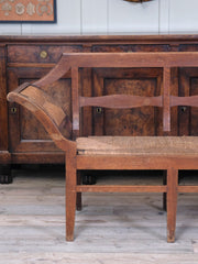 Rush Seated Fruitwood Bench