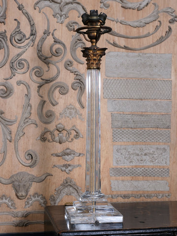 Gilt Bronze and Lead Crystal Table Lamp