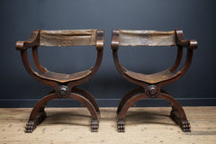 X frame Leather Chairs