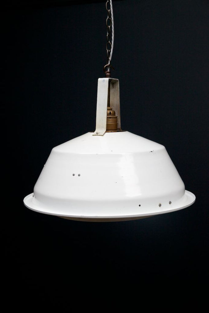 Large White Industrial Pendant