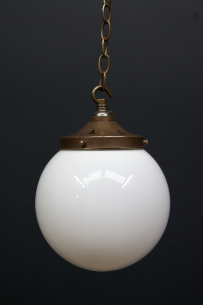 A Pair of Globe Opaline Pendants