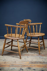 Oak & Maple Open Arm Chairs