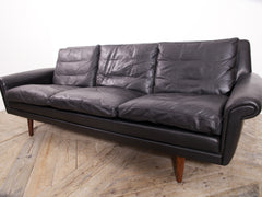 Black Leather Diplomat Sofa