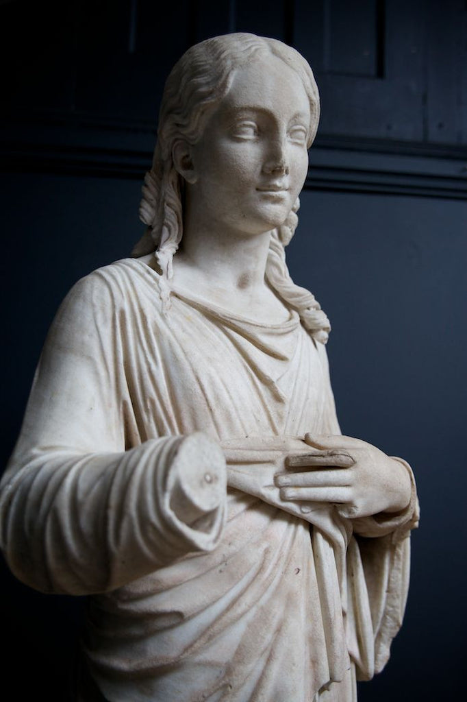 Marble Christ Figure on Pedestal