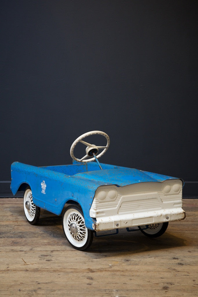 Blue and White Pedal Car