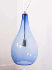 Blue glass and Chrome Pendants
