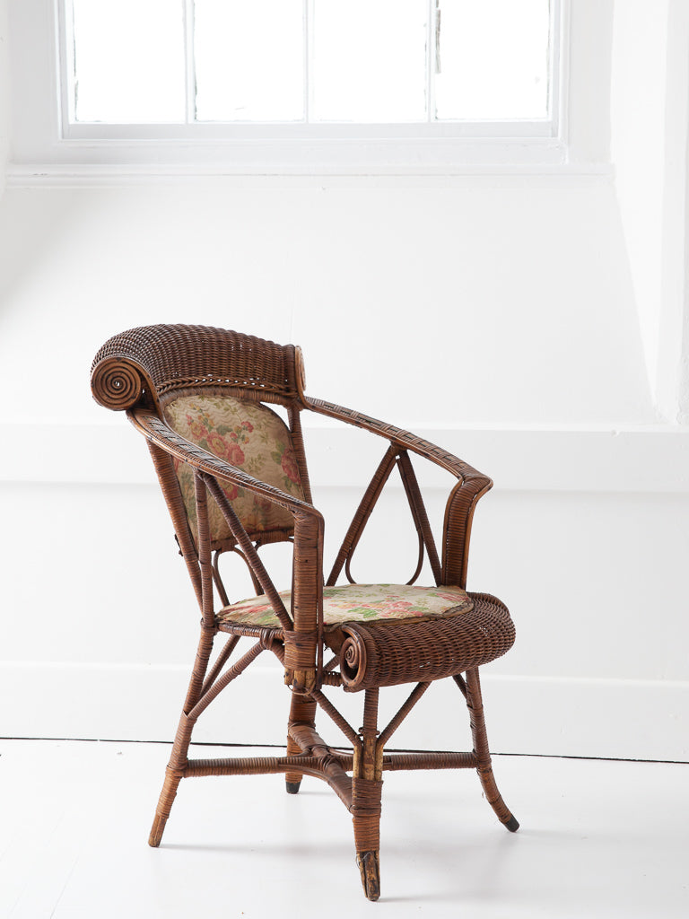 Chairs Nice Scrolled Cane Work Open Armchair Antique Furniture