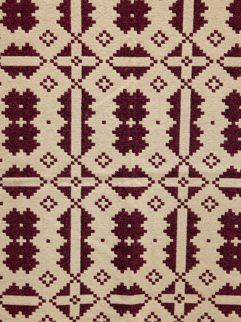 Brynkir Burgundy & Cream Tapestry Blanket