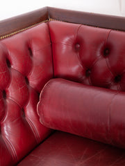 Red Leather Empire Sofa