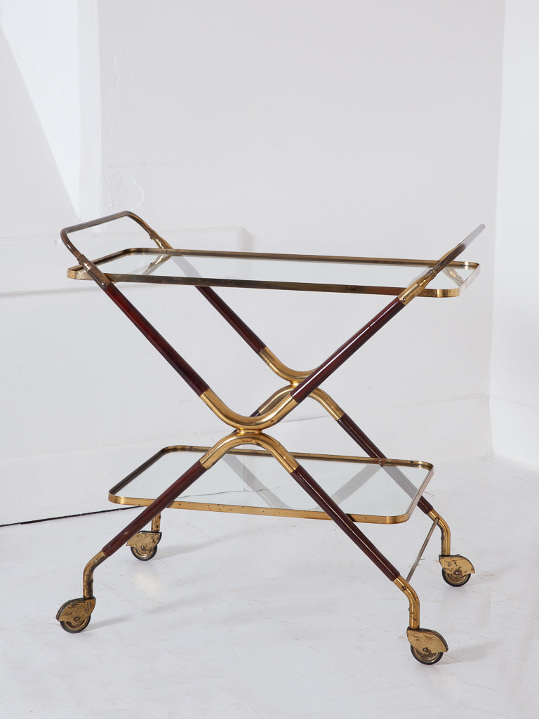 Gilt Brass Drinks Trolley