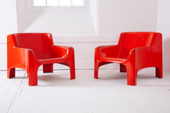 Red Fibreglass Armchairs