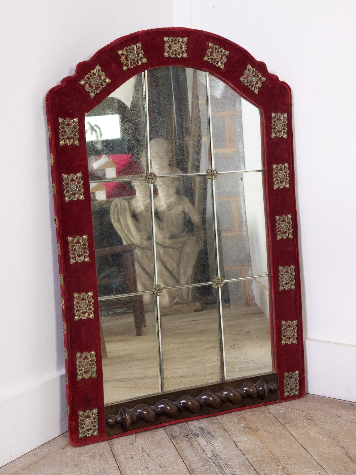 Cut Glass Velvet Wall Mirror