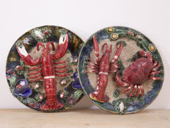 A Pair of Majolica Lobster Plates