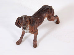 Cold Painted Bronze Hunting Dog