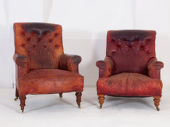 Red Leather Arm Chairs
