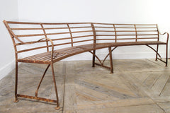 Curved Wrought Iron Garden Bench