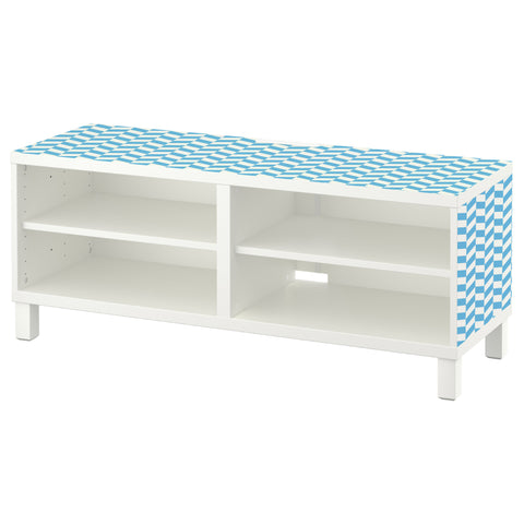 Blue Interlock design BESTA TV Bench DecorPak