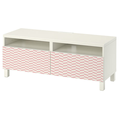 Pink Interlock design BESTA TV Bench DecorPak