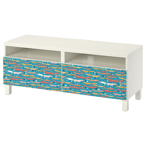 Folkfox Teal design BESTA TV Bench DecorPak