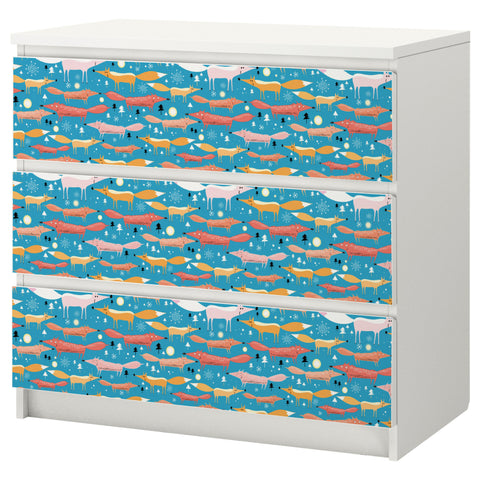 Folkfox Teal design MALM Chest of drawers DecorPak