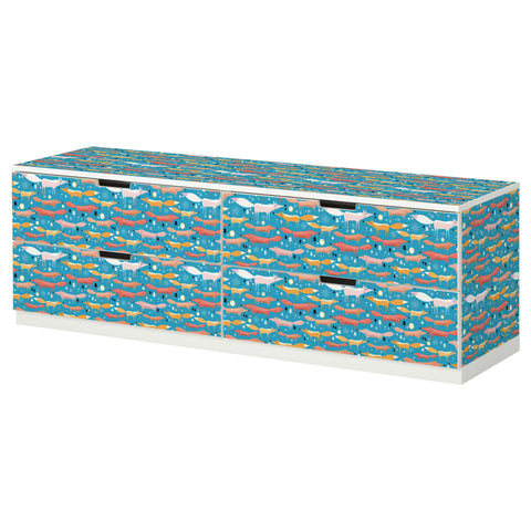 Folkfox Teal design NORDLI Storage combination DecorPak