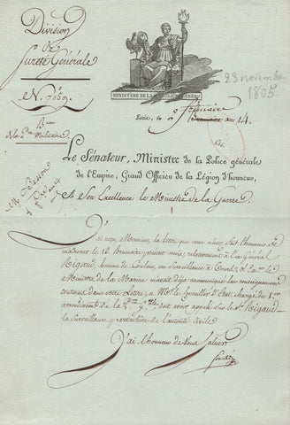 Letter Signed by Joseph Fouché in 1805 ordering surveillance
