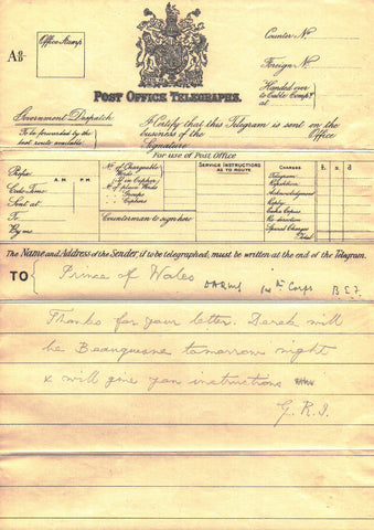 GEORGE V - Autograph Telegram Form Signed to the Prince of Wales