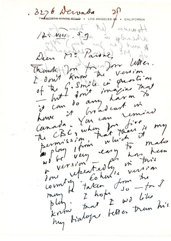 HUXLEY Aldous - Autograph Letter Signed 1959 regarding an adaptation of The Gioconda Smile