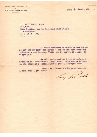 PIRANDELLO Luigi - Typed Letter Signed 1934 prior to the Volta Conference