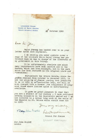 SAINT HELENA - Typed Letter Signed 1960 from the Honorary Consul regarding Longwood House