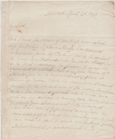 ABERCROMBY Sir Ralph - Autograph Letter Signed 1793 while on campaign in the Netherlands
