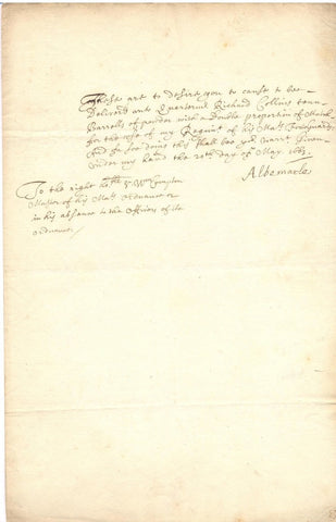 ALBEMARLE Duke of - Letter Signed 1663 ordering barrells of powder