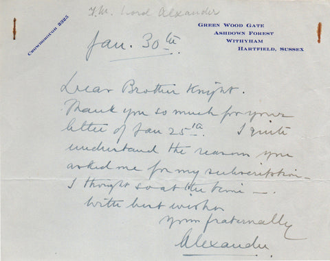 ALEXANDER Field Marshal Harold - Autograph Note Signed to Dear Brother Knight