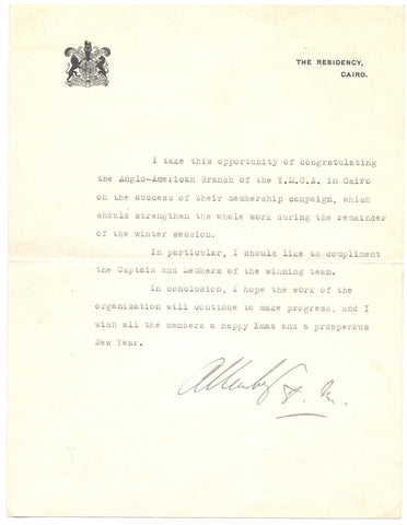 ALLENBY Viscount - Typed Letter Signed to the YMCA in Cairo