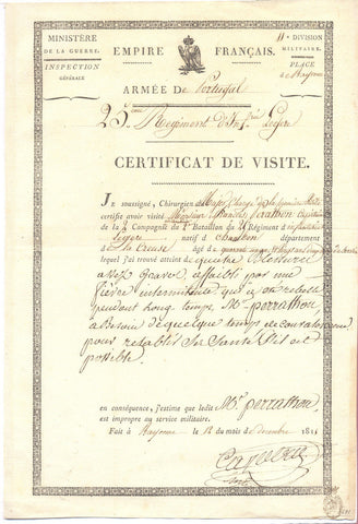 ARMY OF PORTUGAL 1811 - Two medical certificates for a wounded soldier