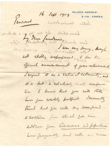 ASQUITH H H - Autograph Letter Signed 1919 expressing admiration of a newspaper editor