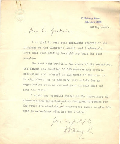 ASQUITH H H - Letter Signed to the editor of The Daily News 1910