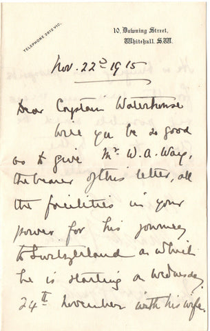 ASQUITH Margot - Autograph Letter Signed 1915 requesting a favour