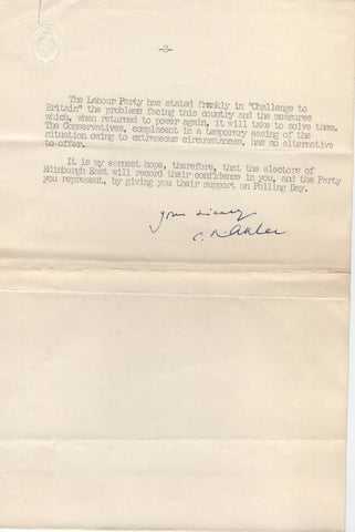 ATTLEE Clement - Typed Letter Signed to a Labour candidate 1954