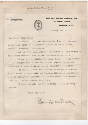 BADEN POWELL Robert - Typed Letter Signed regarding a workshop for disabled servicemen