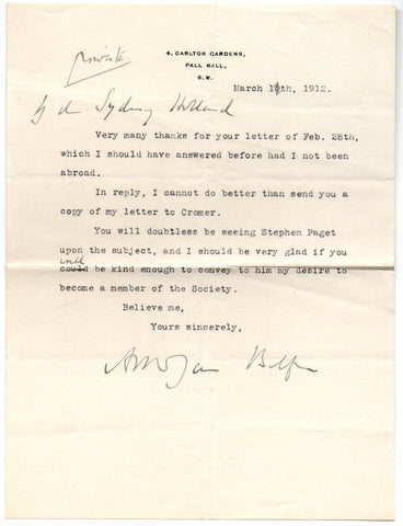 BALFOUR Arthur James - Typed Letter Signed 1912 asking to become a member of a Society