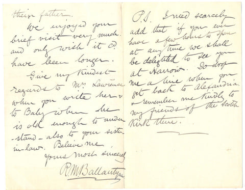 BALLANTYNE RM - Autograph Letter Signed 1893