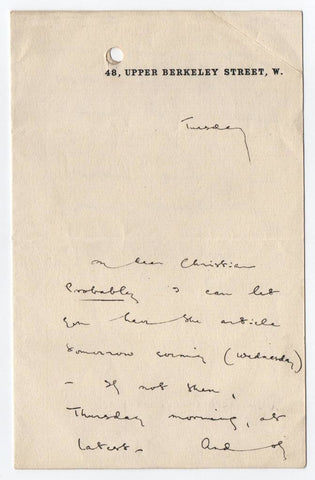 BEERBOHM Max - Autograph Letter Signed about an article
