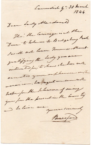 BERESFORD William Carr - Autograph Letter Signed 1844