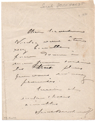 BERNHARDT Sarah - Autograph Letter Signed requesting seats for her cousin
