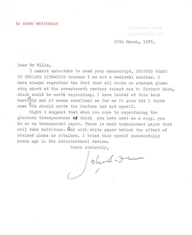 BETJEMAN John - Typed Letter Signed 1975