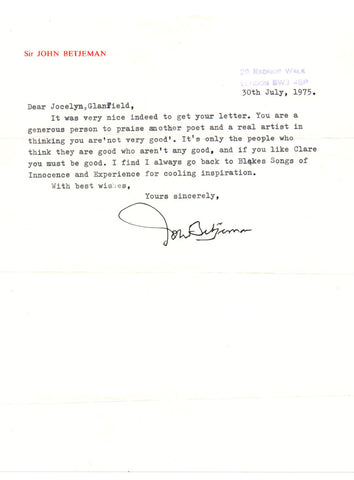 BETJEMAN John - Typed Letter Signed 1975 expressing his admiration for William Blake